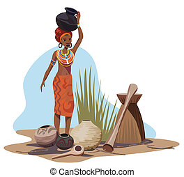 African Woman Carrying Pot - Illustration with an African...