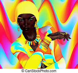 African Woman Colorful Fashion