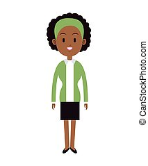 african woman curly hair green shirt vector illustration eps...