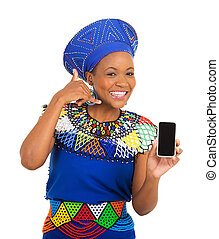 african woman doing call me sign - happy african woman doing...