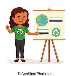 African woman environmental activist giving presentation