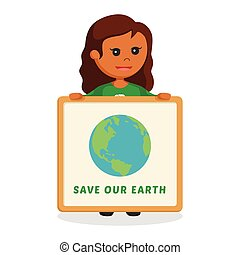 African woman environmental activist with save earth