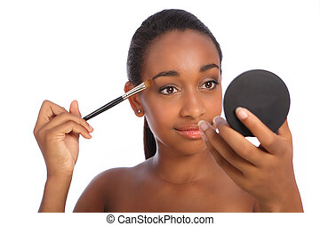African woman eye shadow make up cosmetics brush