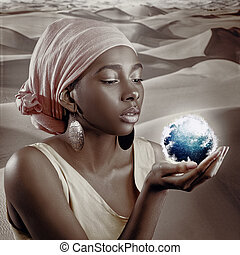 African woman, female portrait with saved skin texture and Earth globe