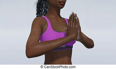 African woman hands in namaste on white close up