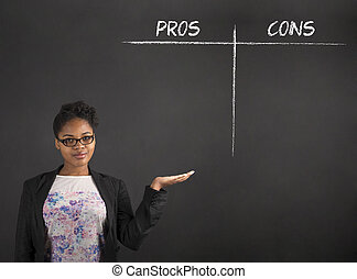 South African or African American black woman teacher or student holding her hand out to the side showing a pros and cons list standing against a chalk blackboard background inside