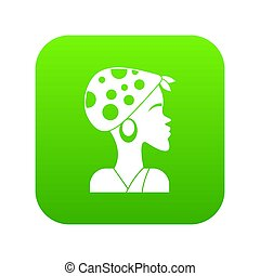 African woman icon green