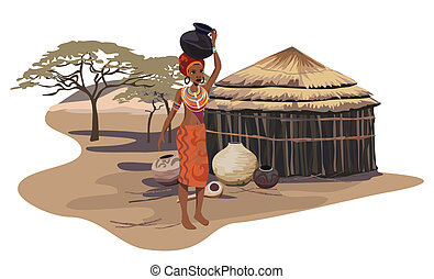 African Woman - Illustration with an African woman carrying...