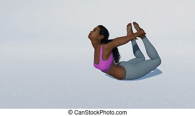 African woman in bow pose yoga on white loopable