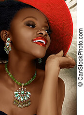 African woman in Christmas fashion