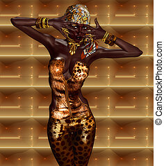 African Woman in Leopard Print - African American Woman...