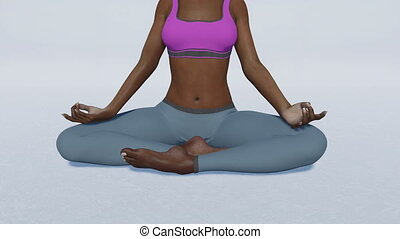 African woman in meditation easy pose close up