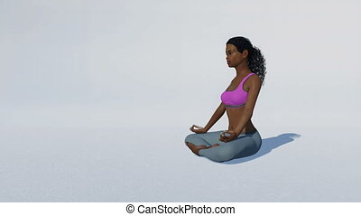 African woman in meditation easy pose on white