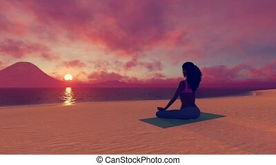 African woman in meditation yoga pose at sunrise