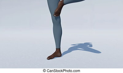 African woman in tree pose yoga on white close up