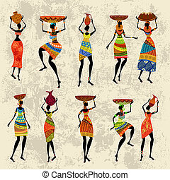 african woman, képben látható, grunge, háttér