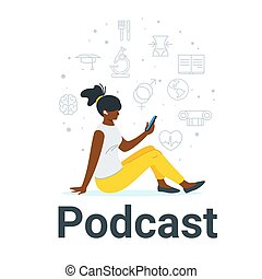 African woman listening to podcast flat vector illustration....