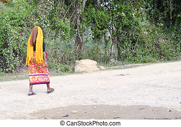 African woman looking back