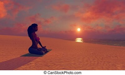 African woman meditating in yoga lotus pose on beach