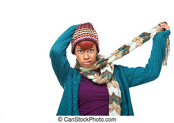 African Woman Mocking Winter