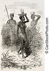 African woman - Native african woman old engraved portrait (...