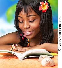 African woman on the beach - Photo of beautiful african...