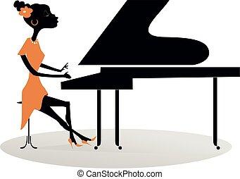 African woman pianist illustration - Cartoon African woman...