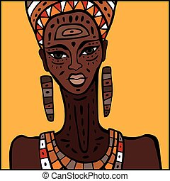 African woman Portrait - Portrait of African woman. Hand...