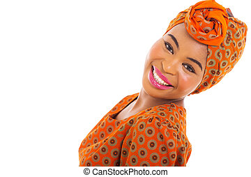 african woman posing - cute african woman posing on white...