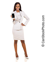 african woman presenting smart phone