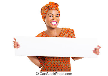 african woman presenting white board
