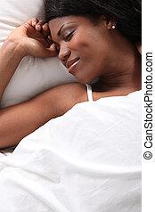 African woman sleeping