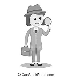 African woman spy agent with magnifying glass and bag