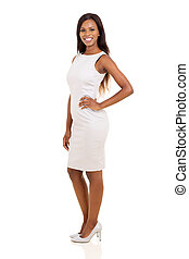 african woman standing on white background