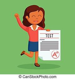 African woman teacher with a grade test