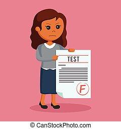 African woman teacher with f grade test