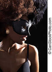African woman with beauty mask