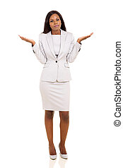 african woman with careless body language isolated on white...