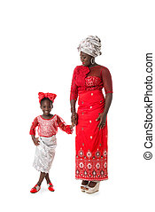 African woman with little girl in traditional clothing.Isolated