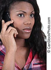 African woman with mobile phone