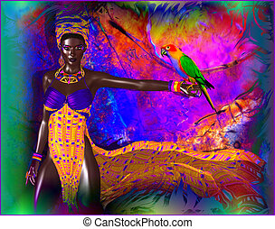 African woman with parrot