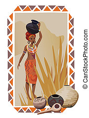 African Woman with Pots