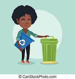 African woman with recycle bin and trash can.