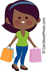 African woman with shopping bags. Vector illustration