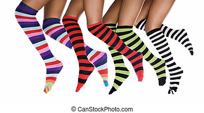 African woman with striped socks