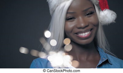 African woman with white hair Happy christmas - African ...