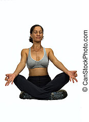 African woman yoga - African american mid age woman trainer...
