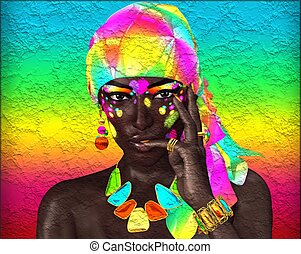 African Woman,colorful headscarf