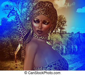 African Woman,Leopard Print