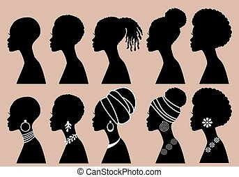 African Women, black girls, profile silhouettes, vector set